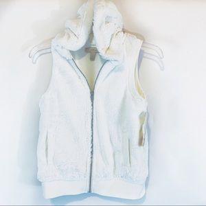 Speechless Faux Fur Girls Vest Hooded Plush Hood